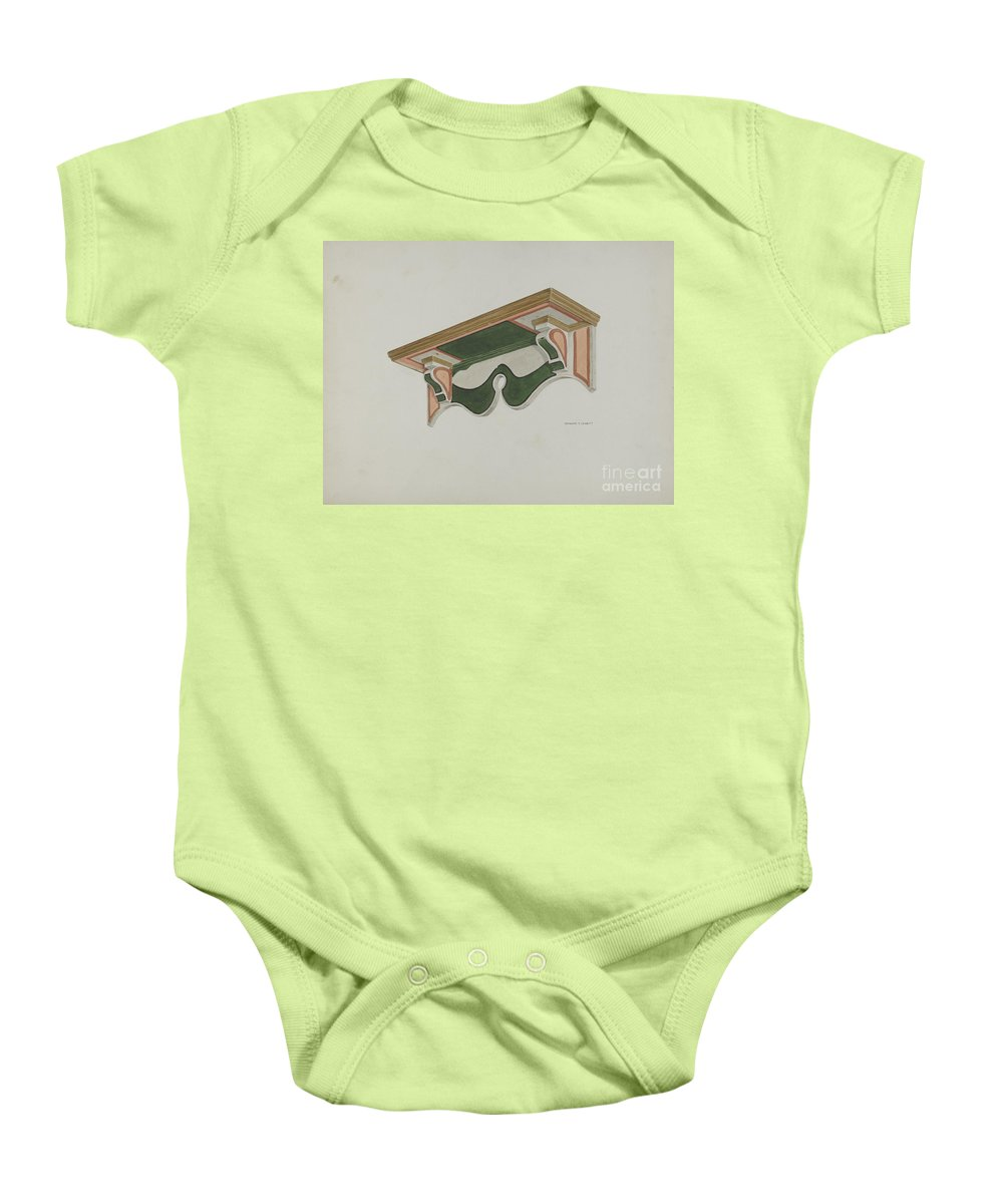 Baby Onesie featuring the drawing Wall Bracket (ecclesiastical) by Edward Jewett