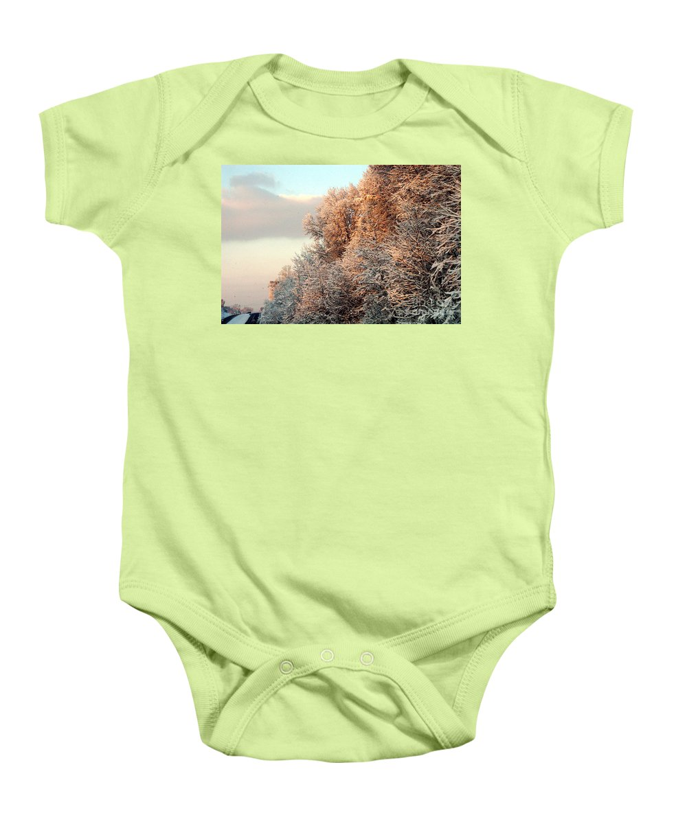 Clay Baby Onesie featuring the photograph Warm Light Snow by Clayton Bruster