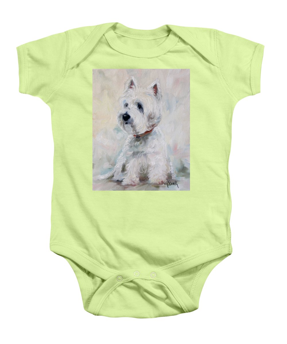 Art Baby Onesie featuring the painting Watch Dog by Mary Sparrow