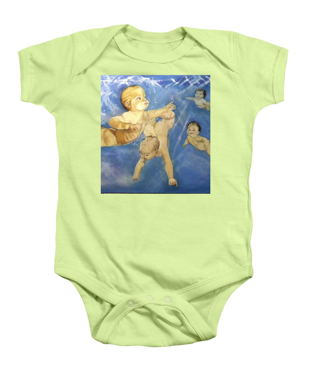Babies Baby Onesie featuring the painting Water Babies by Jane Simpson