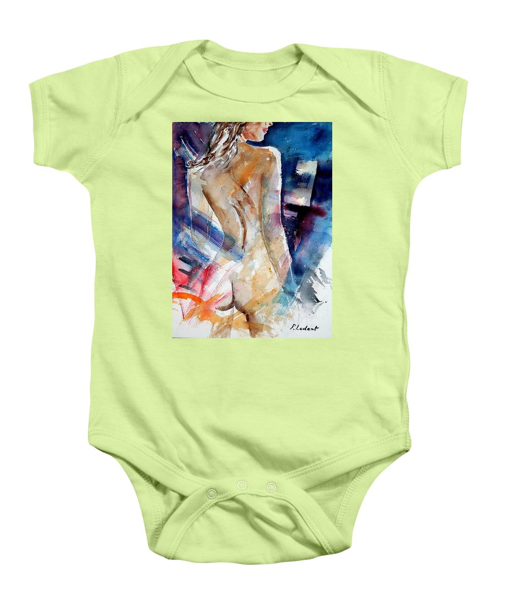 Nude Baby Onesie featuring the painting Watercolor 010107 by Pol Ledent