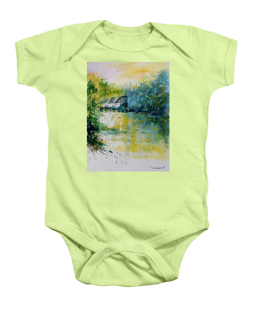 River Baby Onesie featuring the painting Watercolor 011108 by Pol Ledent