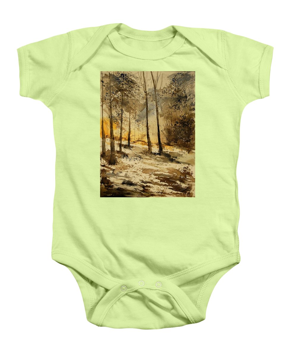 Tree Baby Onesie featuring the painting Watercolor 191106 by Pol Ledent