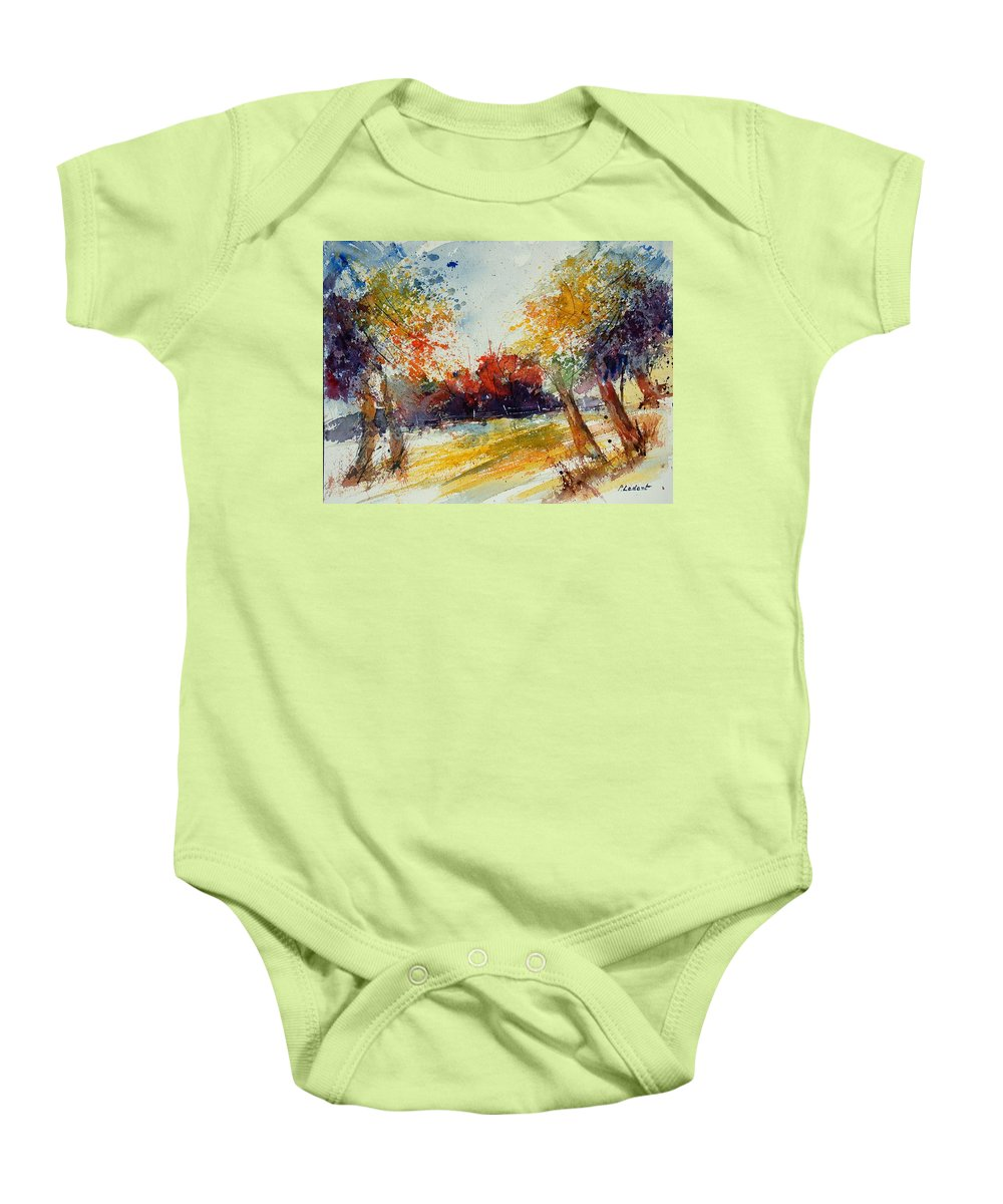 Tree Baby Onesie featuring the painting Watercolor 902010 by Pol Ledent
