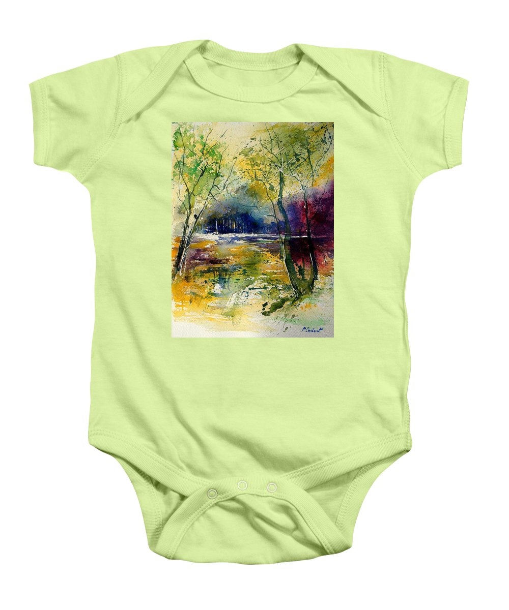 River Baby Onesie featuring the painting Watercolor 908010 by Pol Ledent