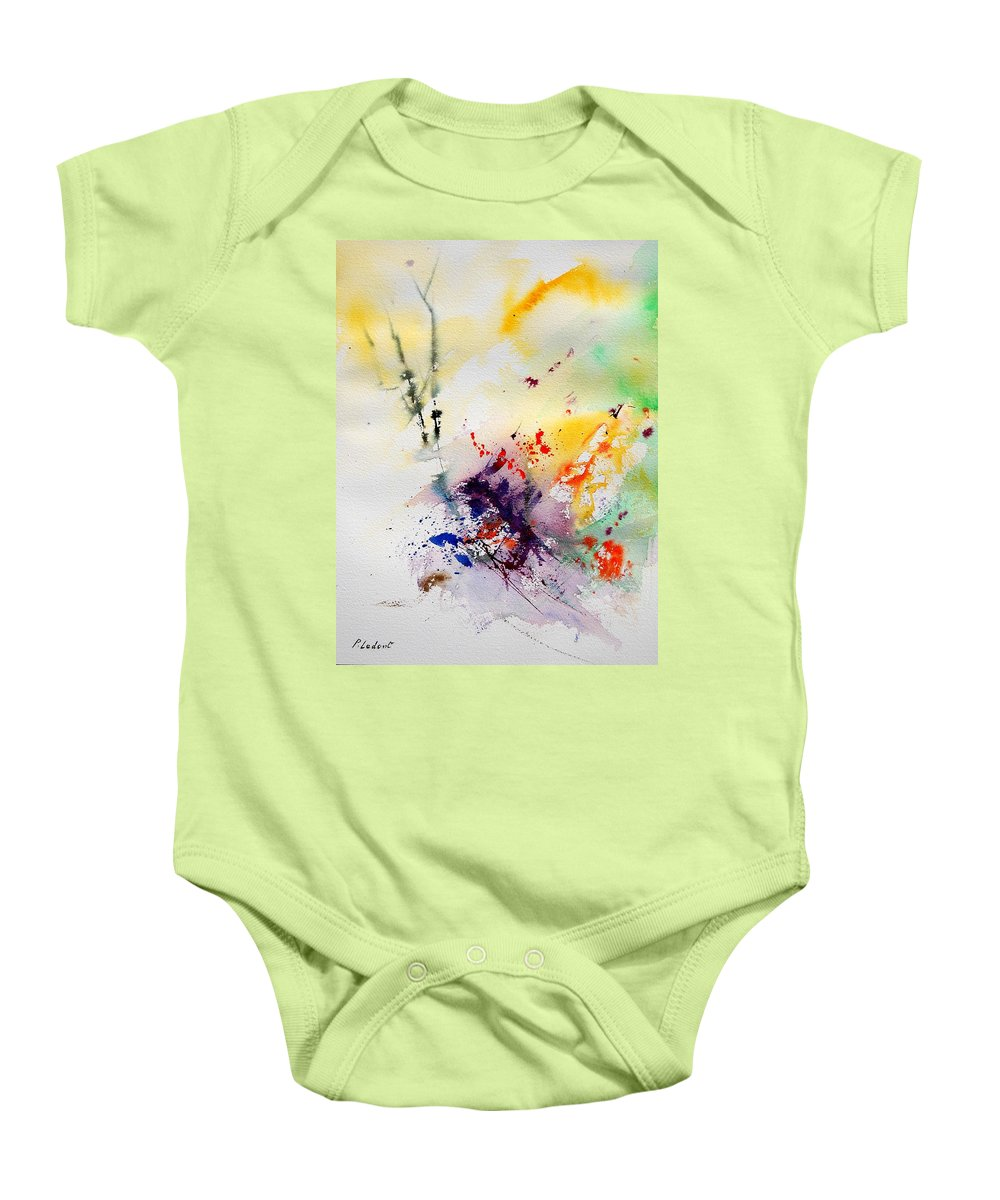 Abstract Baby Onesie featuring the painting Watercolor 908090 by Pol Ledent