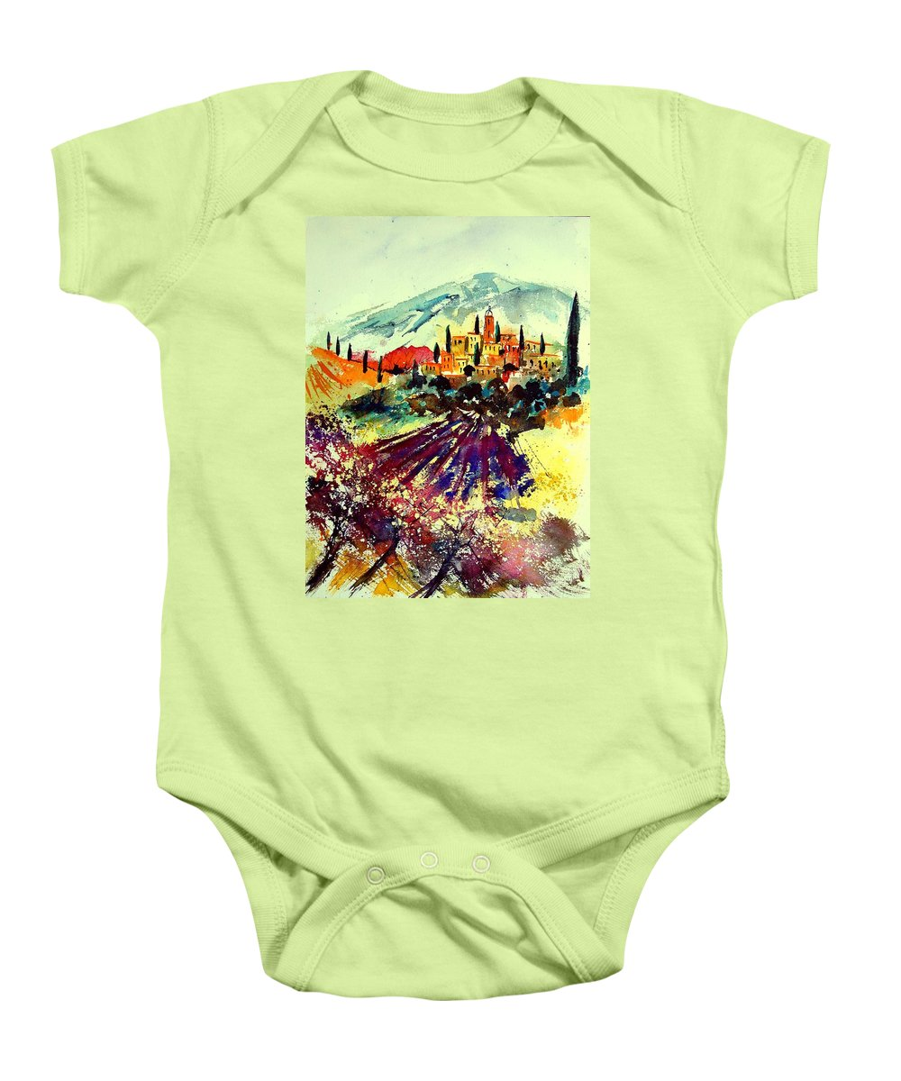Poppies Baby Onesie featuring the painting Watercolor Provence 07 by Pol Ledent