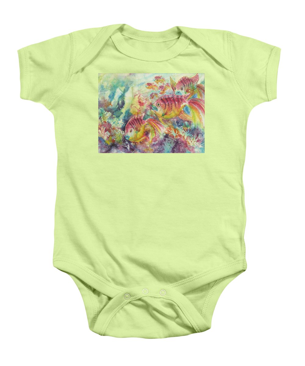 Fish Baby Onesie featuring the painting Watery World 2 by Deborah Younglao