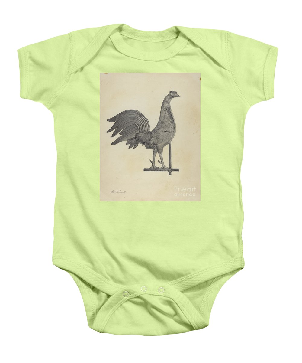 Baby Onesie featuring the drawing Weather Vane Finial by Helen Hobart