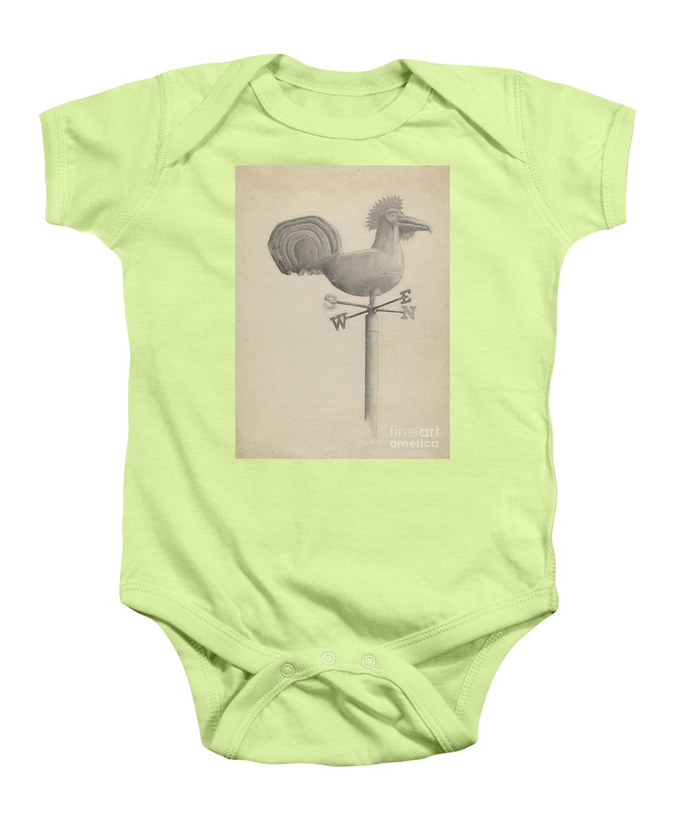 Baby Onesie featuring the drawing Weather Vane by Helen Hobart