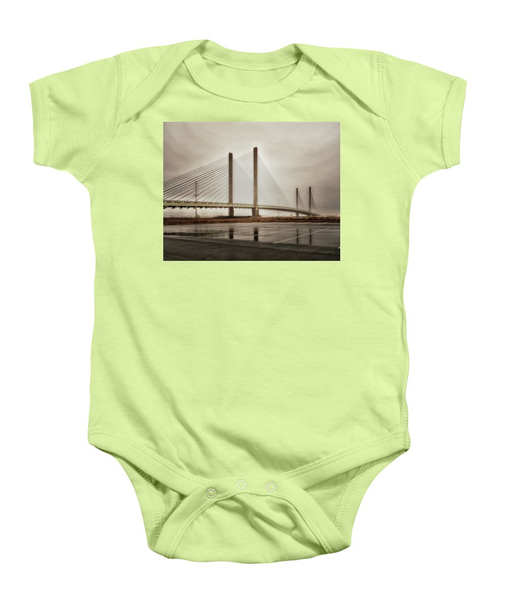 Weathering Baby Onesie featuring the photograph Weathering Weather At The Indian River Inlet Bridge by Bill Swartwout Fine Art Photography
