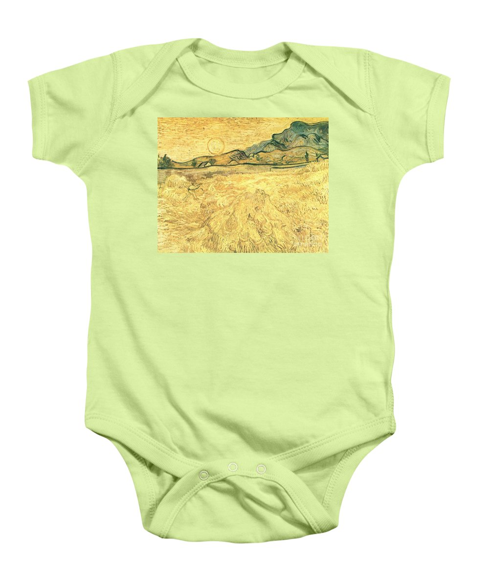Wheatfield With Reaper And Sun Baby Onesie featuring the painting Wheatfield With Reaper And Sun by Celestial Images