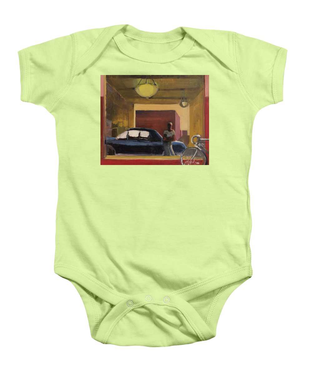 City Baby Onesie featuring the painting Wheels In The City by Craig Newland