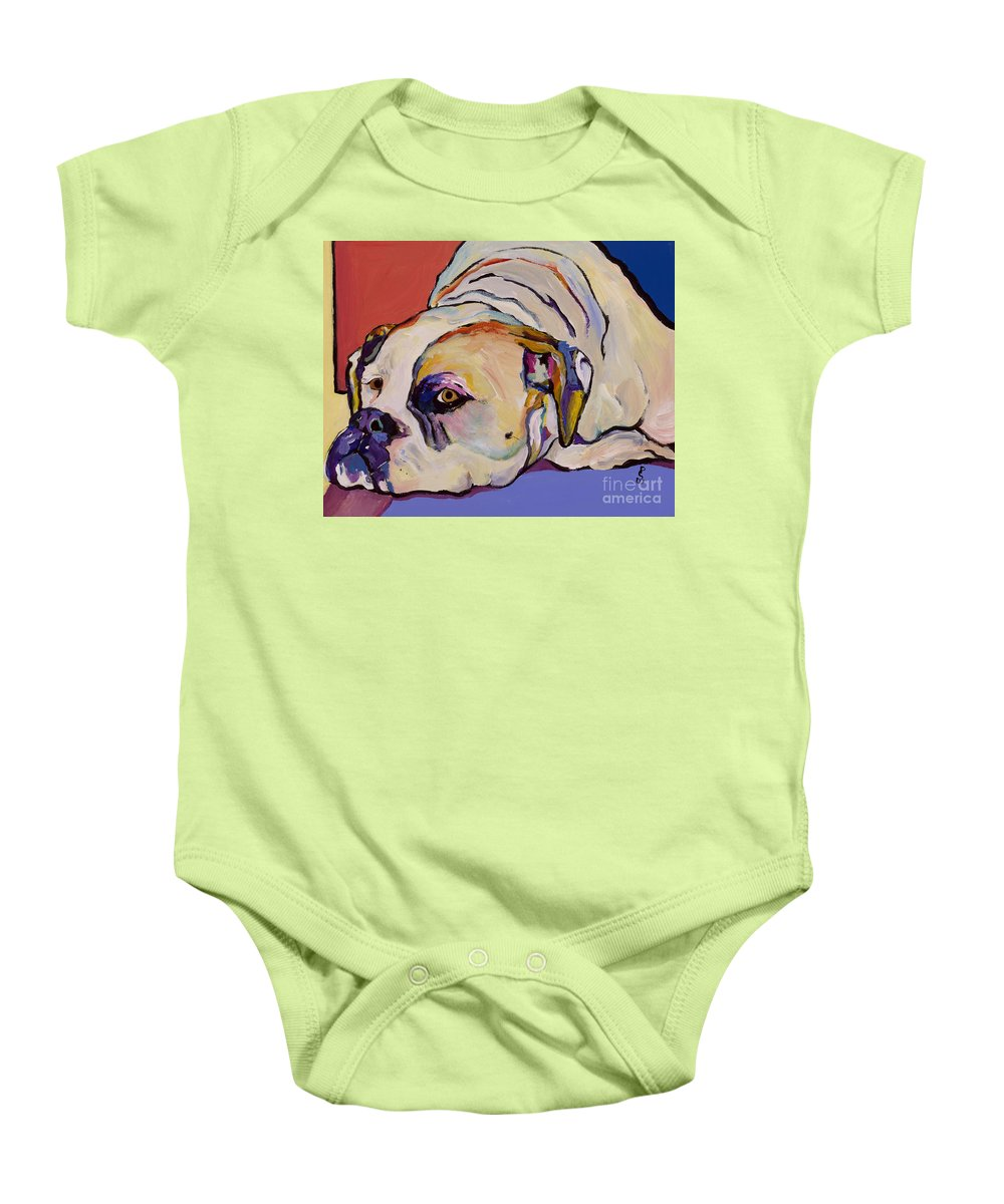 American Bulldog Baby Onesie featuring the painting Where Is My Dinner by Pat Saunders-White