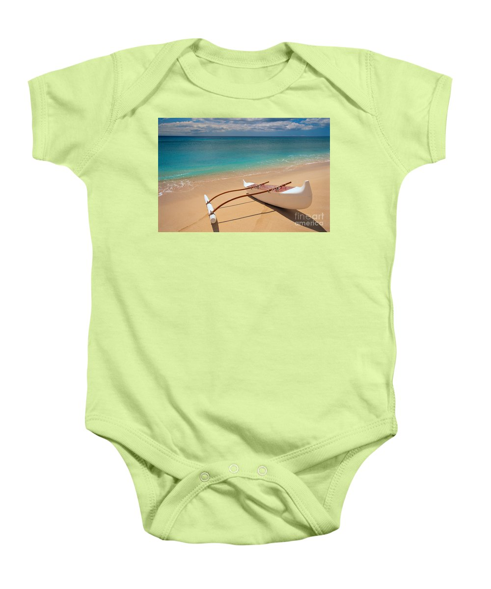 Afternoon Baby Onesie featuring the photograph White Outrigger Canoe by Dana Edmunds - Printscapes