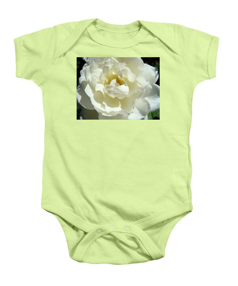 Rose Baby Onesie featuring the photograph White Rose Art Prints Summer Sunlit Roses Baslee Troutman by Baslee Troutman