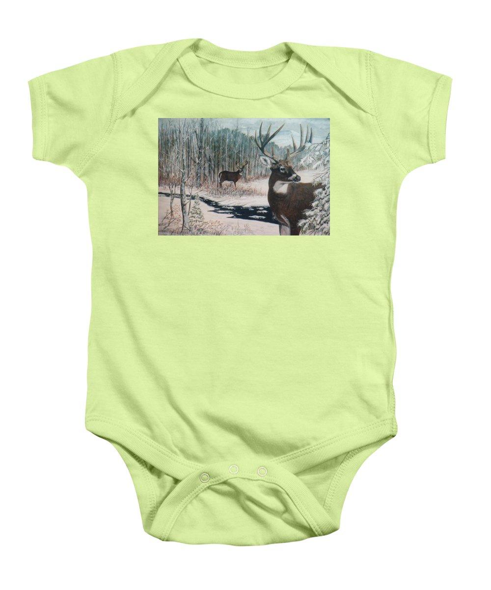 Deer; Snow; Creek Baby Onesie featuring the painting Whitetail Deer by Ben Kiger