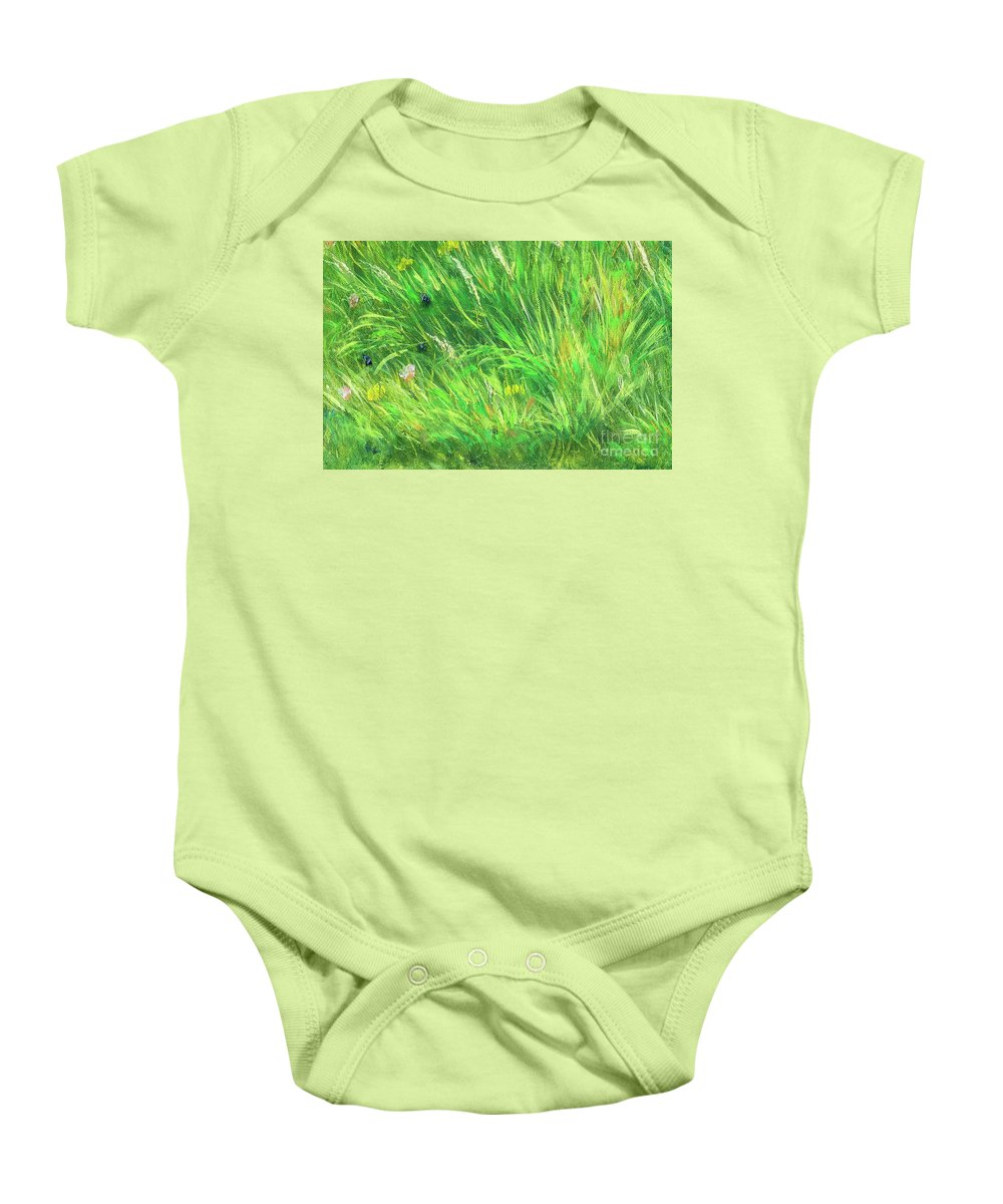 Vivid Baby Onesie featuring the painting Wild Meadow Grass Structure In Bright Green Tones, Painting Detail. by Jozef Klopacka