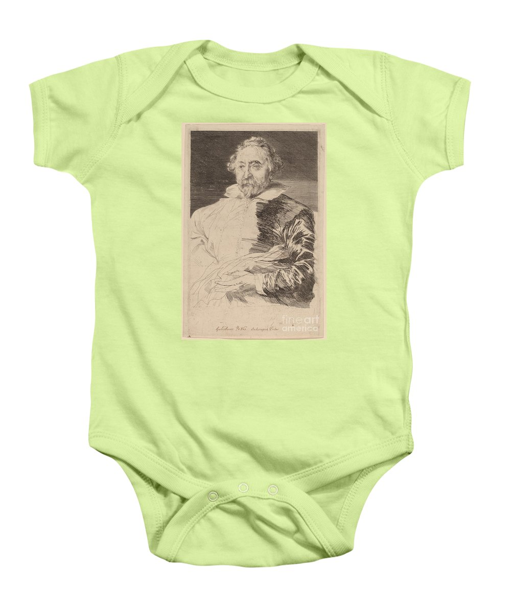Baby Onesie featuring the drawing Willem De Vos by Sir Anthony Van Dyck And Schelte Adams Bolswert