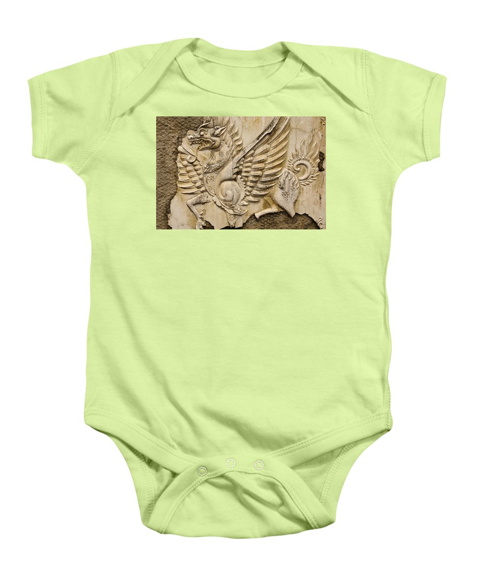 Asia Baby Onesie featuring the photograph Winged Dragon by Michele Burgess