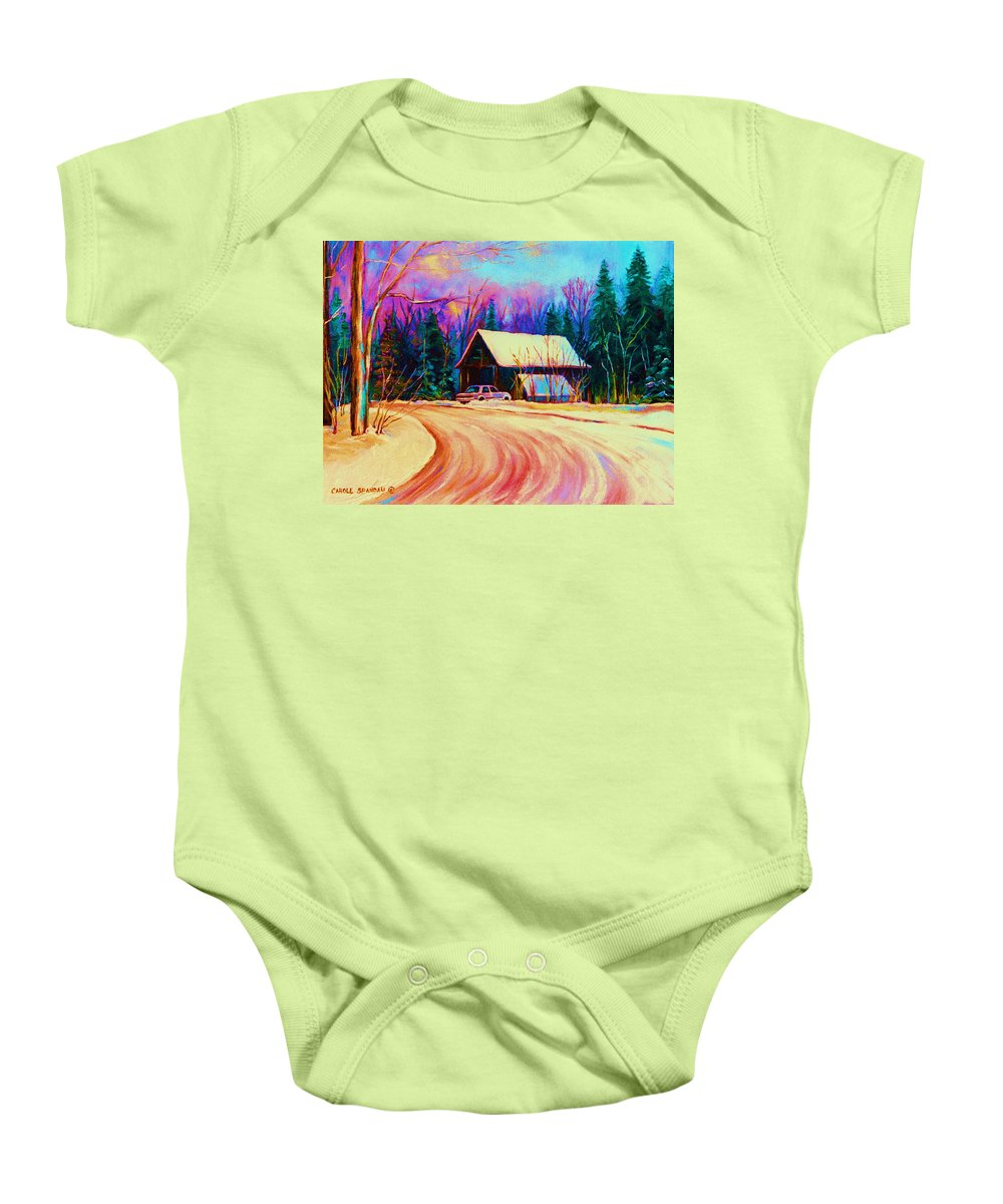 Landscape Baby Onesie featuring the painting Winter Getaway by Carole Spandau