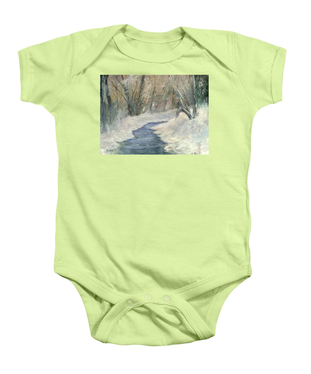 Snow Baby Onesie featuring the painting Winter On Stormcreek by Gail Kirtz