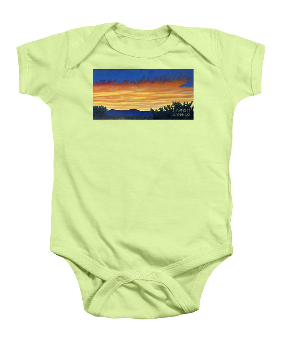 Sunset Baby Onesie featuring the painting Winter Sunset In El Dorado by Brian Commerford