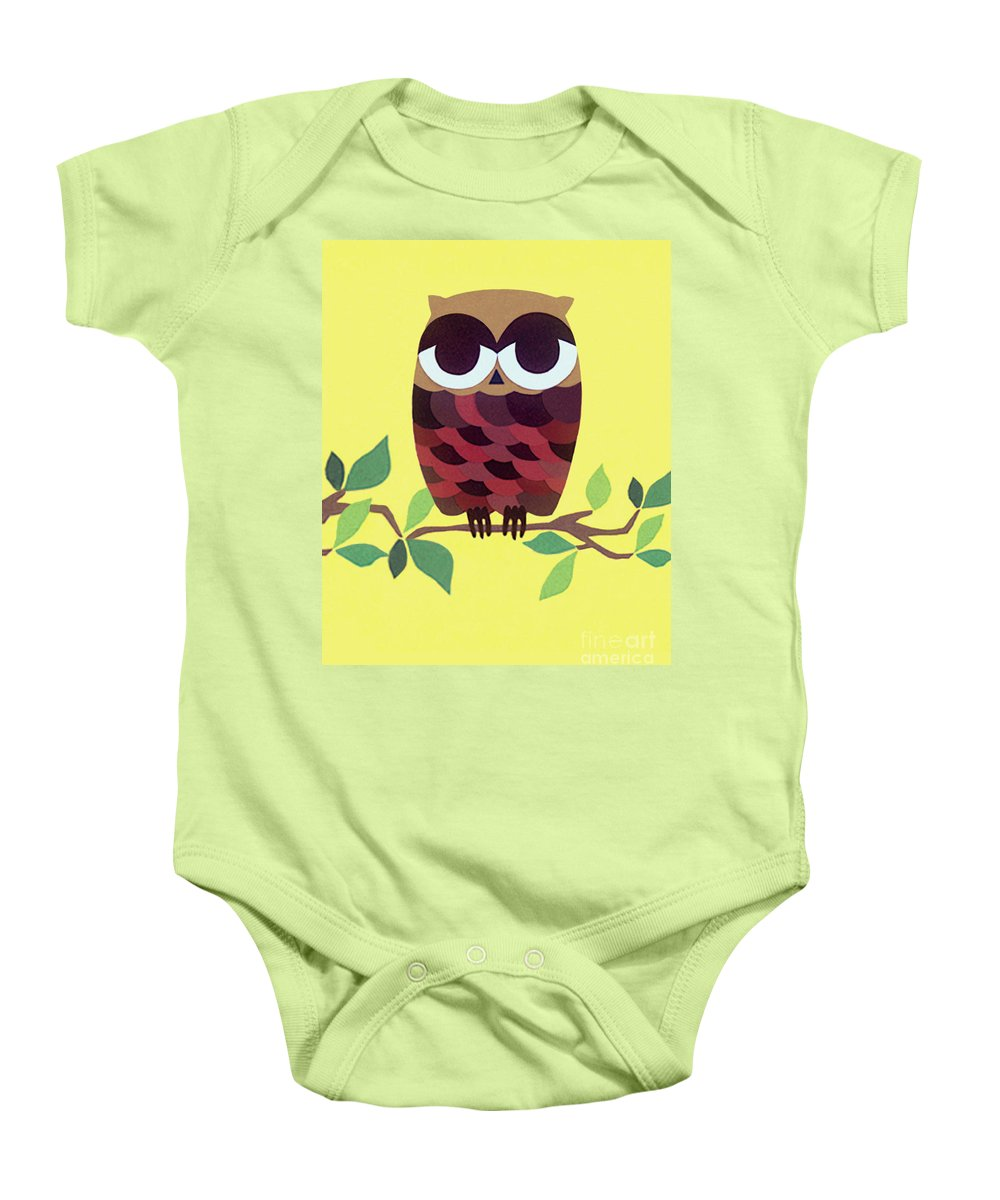 Nature Baby Onesie featuring the drawing Wise Owl by Lucyna A M Green