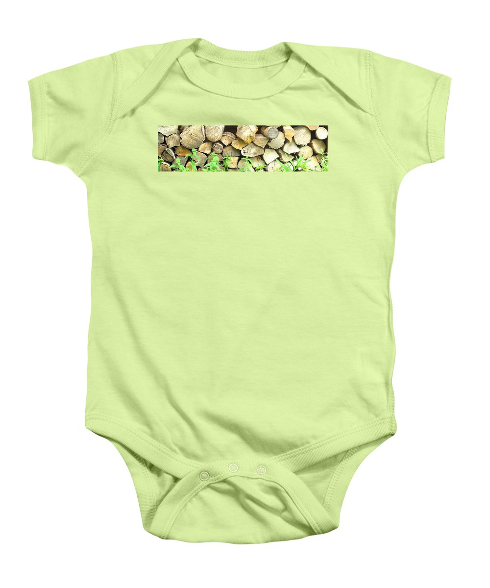 Wood Baby Onesie featuring the photograph Wood Pile by Ian MacDonald