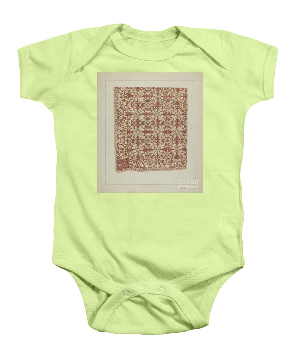 Baby Onesie featuring the drawing Woven Coverlet by James M. Lawson