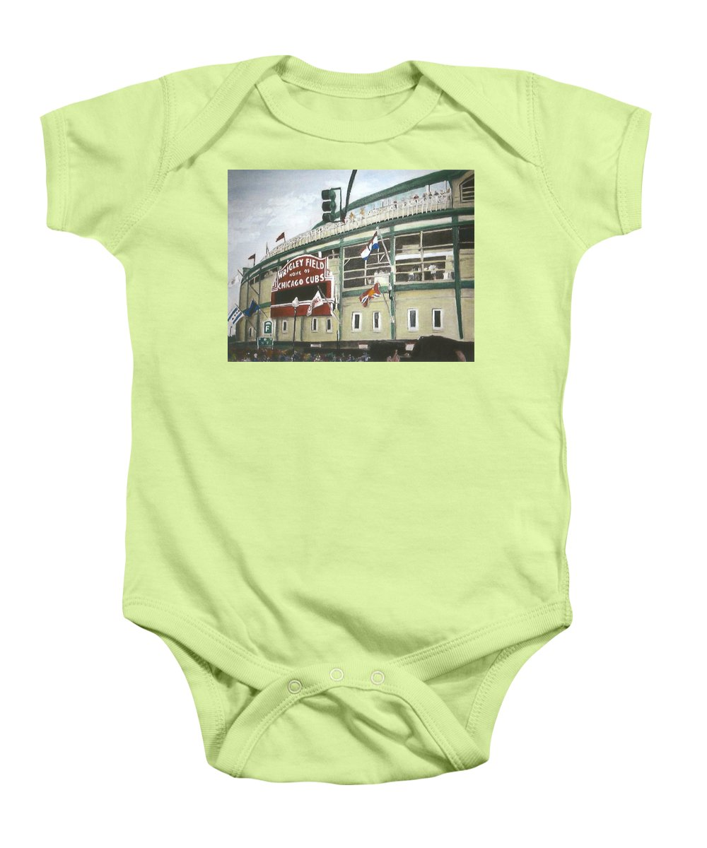 Wrigley Field Baby Onesie featuring the painting Wrigley Field by Travis Day