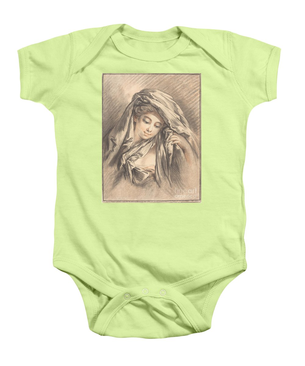 Baby Onesie featuring the drawing Young Woman With Her Head Covered by Gilles Demarteau, The Elder After Fran?ois Boucher