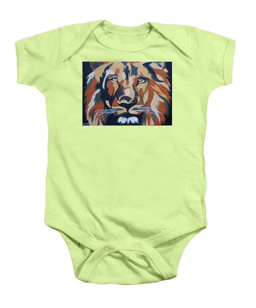 Lion Baby Onesie featuring the painting Your Majesty by Samantha Zaltowski