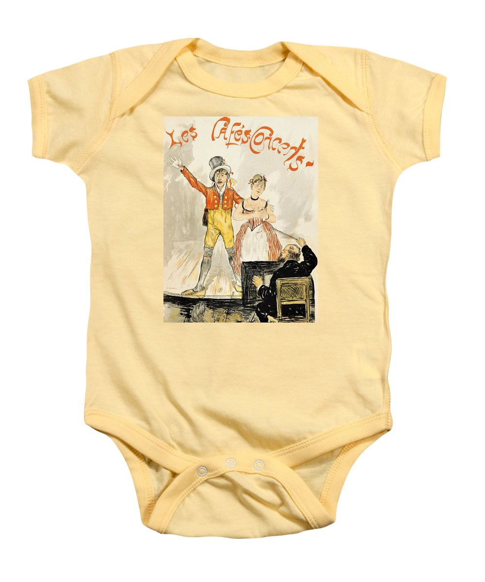 Art; Music; Europe; France; Singing; Vintage Baby Onesie featuring the drawing France Paris Poster Of Stage Performance At Cafe Chantant by Anonymous