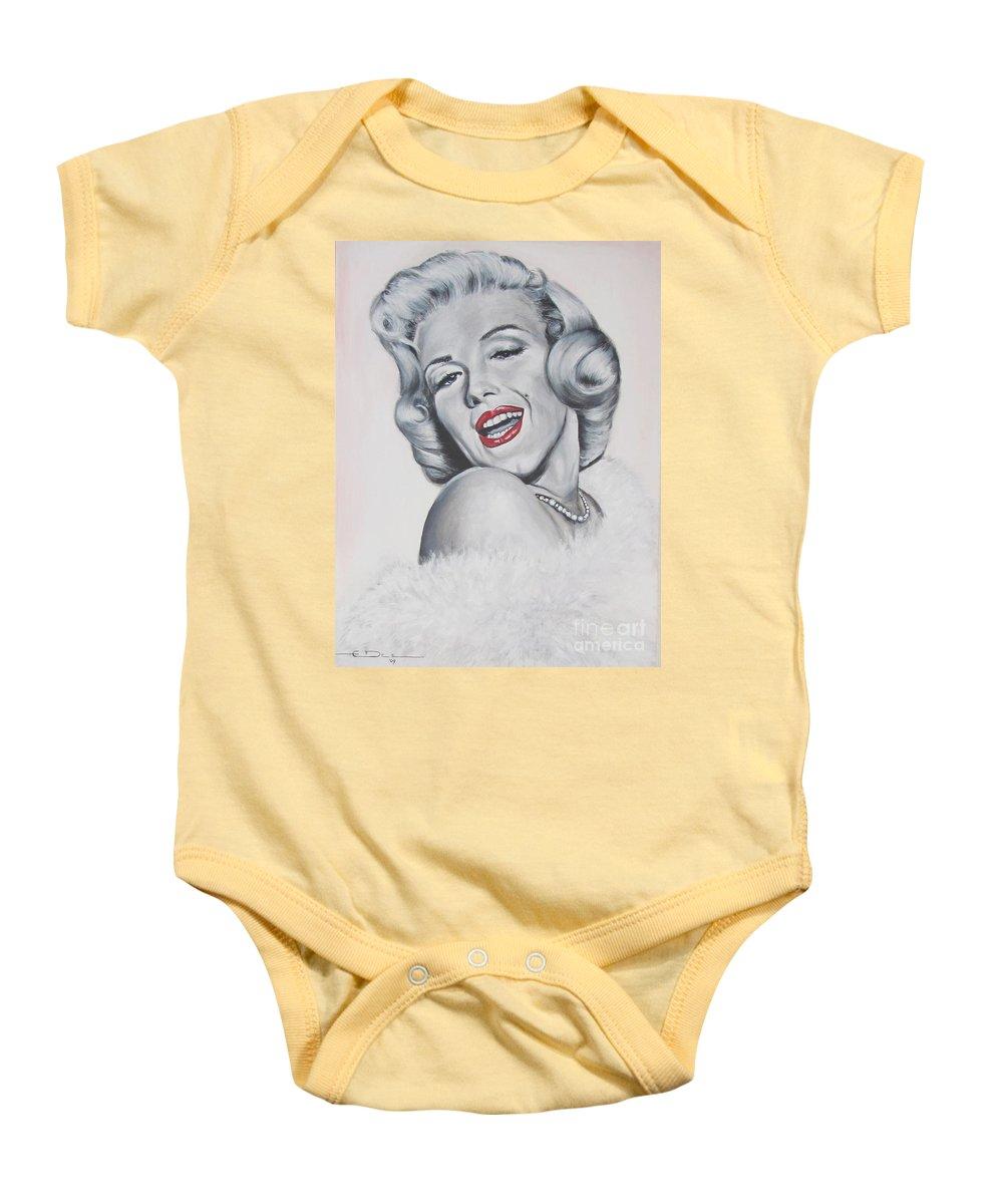 Marilyn Monroe Baby Onesie featuring the painting Marilyn Monroe by Eric Dee