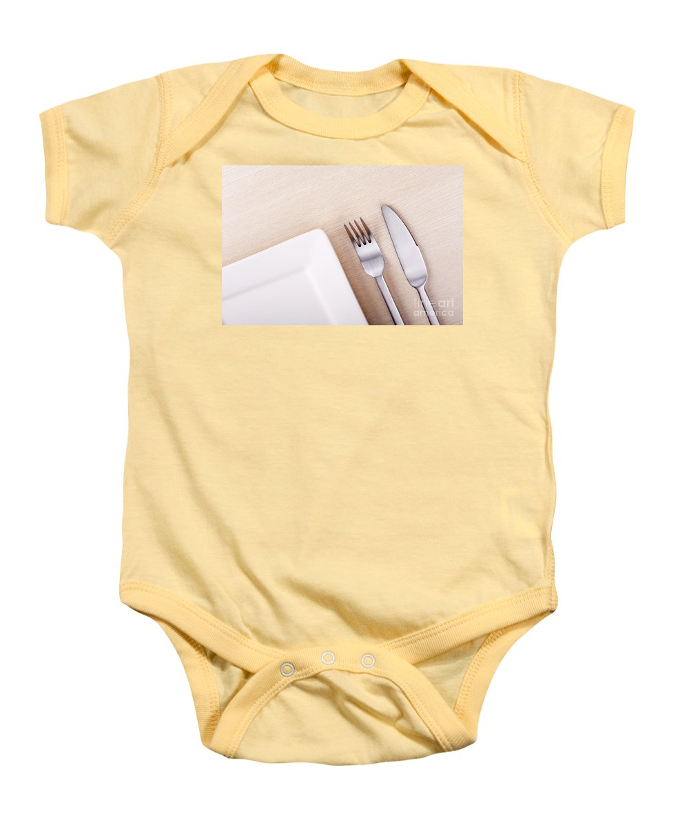 Background Baby Onesie featuring the photograph Knife Fork And Plate by Tim Hester