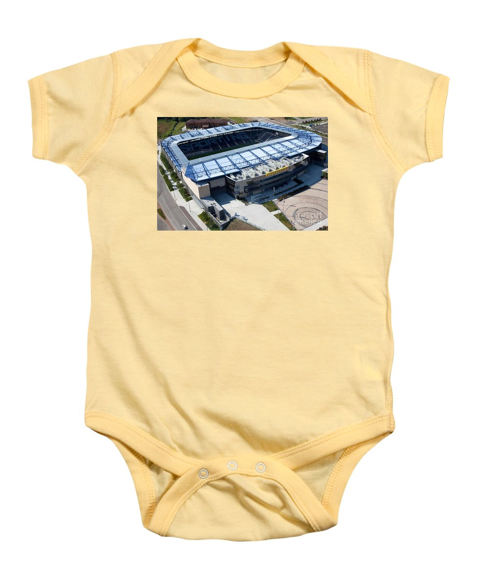 Aerial Baby Onesie featuring the photograph Livestrong Sporting Park Kansas City by Bill Cobb