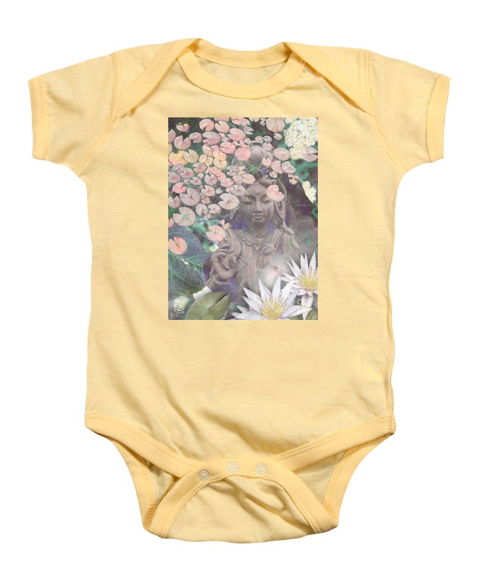 Kwan Yin Baby Onesie featuring the mixed media Reflections by Christopher Beikmann