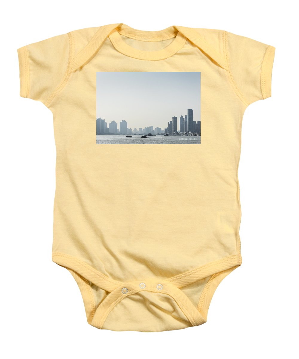 Architecture Baby Onesie featuring the photograph View Of Shanghai River In China by Jacek Malipan