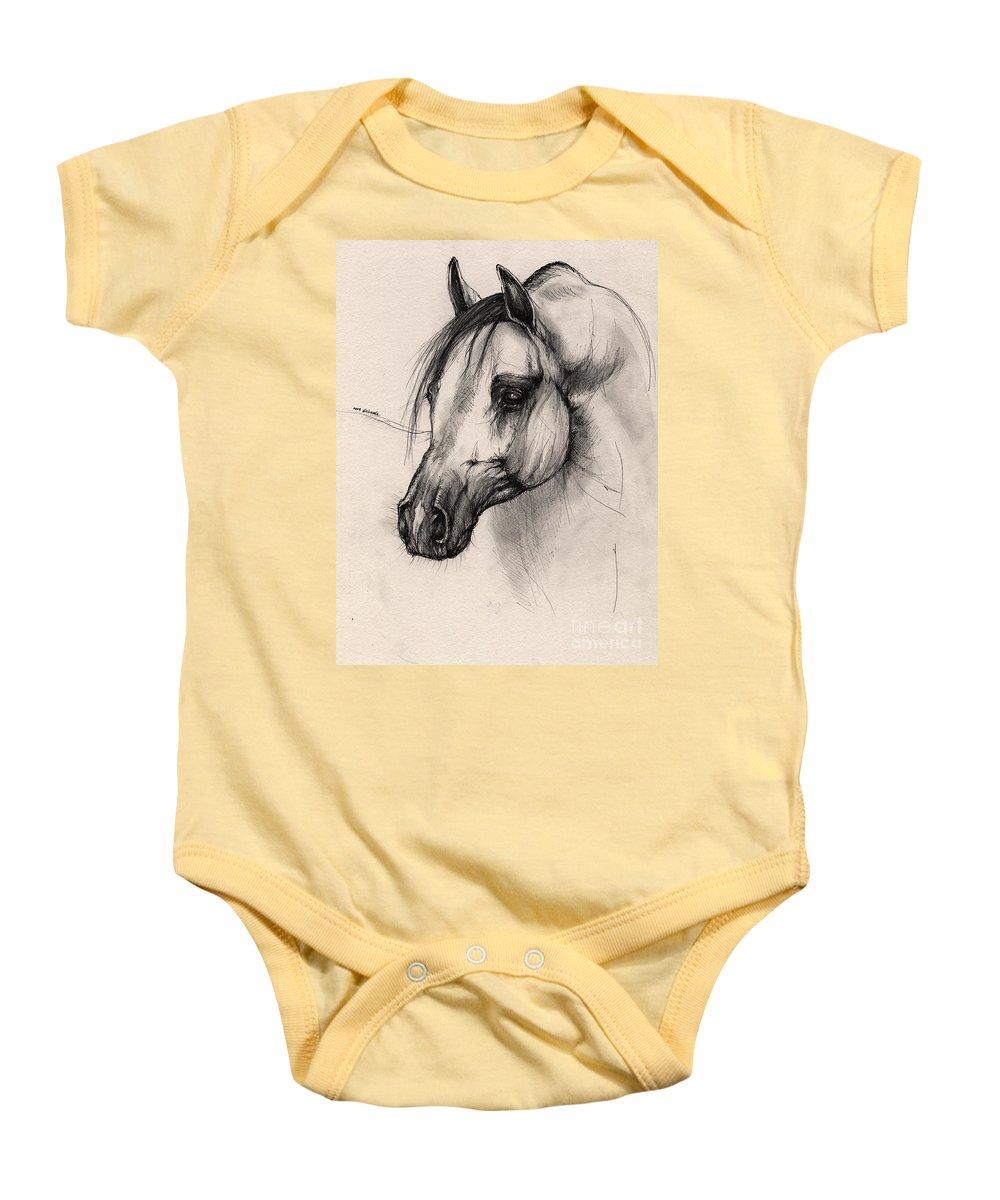 Horse Baby Onesie featuring the drawing Arabian Horse by Angel Ciesniarska