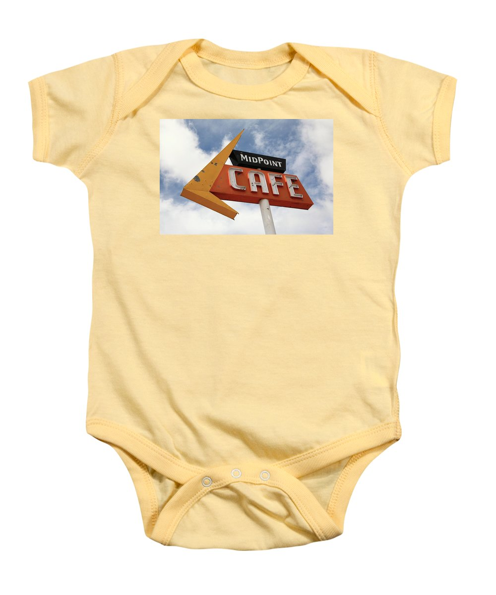 66 Baby Onesie featuring the photograph Route 66 Cafe by Frank Romeo