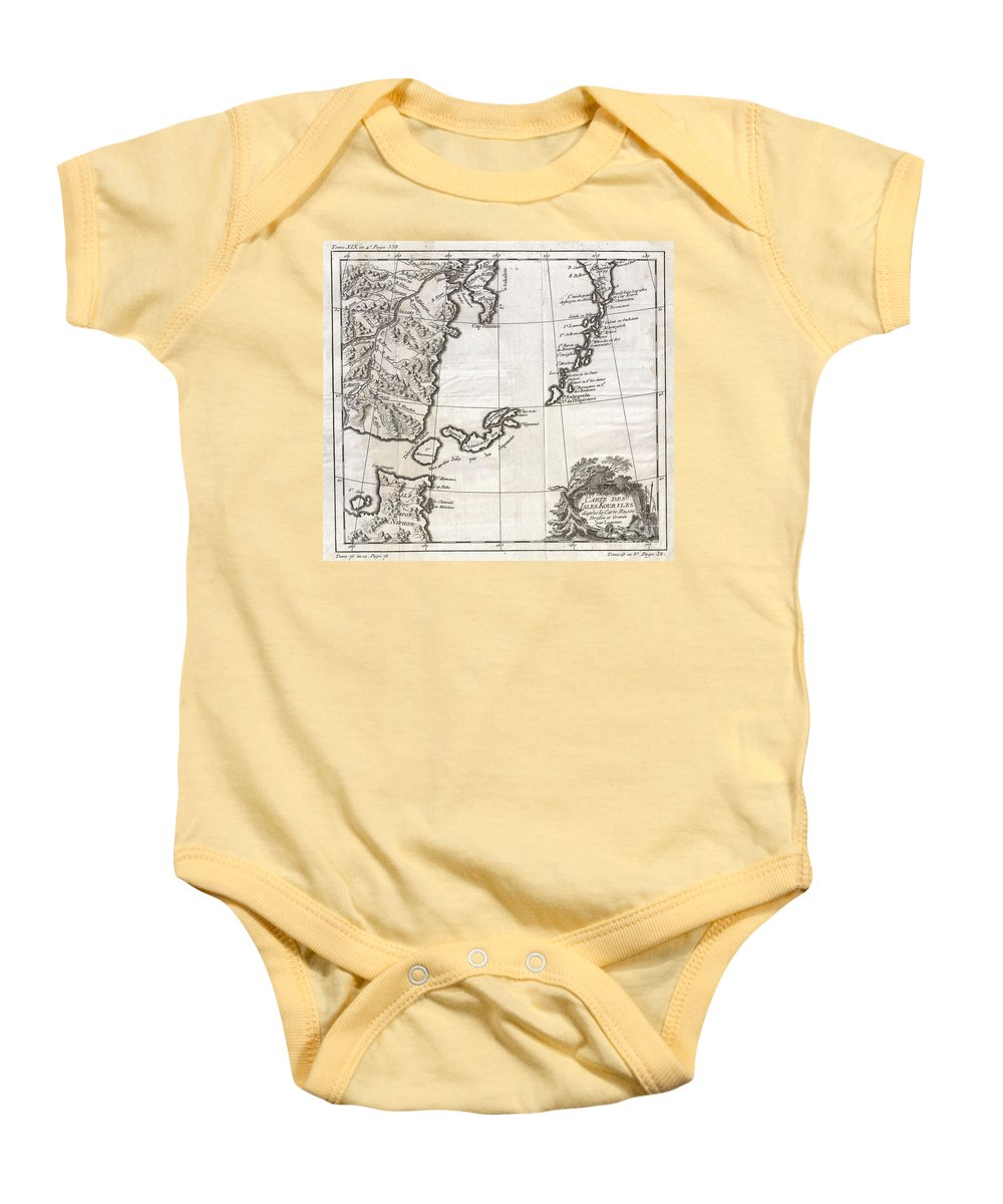: A Beautiful Example Of Bellin's C. 1750 Map Of The Kuril Islands. The Kuril Islands Or Kurile Islands Are A Volcanic Archipelago That Stretches Approximately 1 Baby Onesie featuring the photograph 1750 Bellin Map Of The Kuril Islands by Paul Fearn