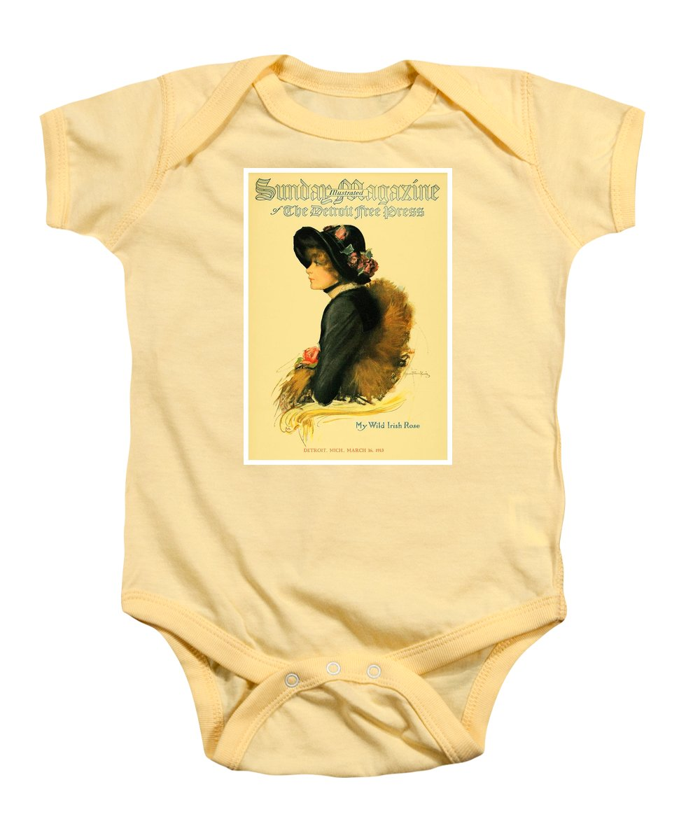 1913 Baby Onesie featuring the digital art 1913 - Detroit Free Press - Sunday Magazine Cover - Color by John Madison