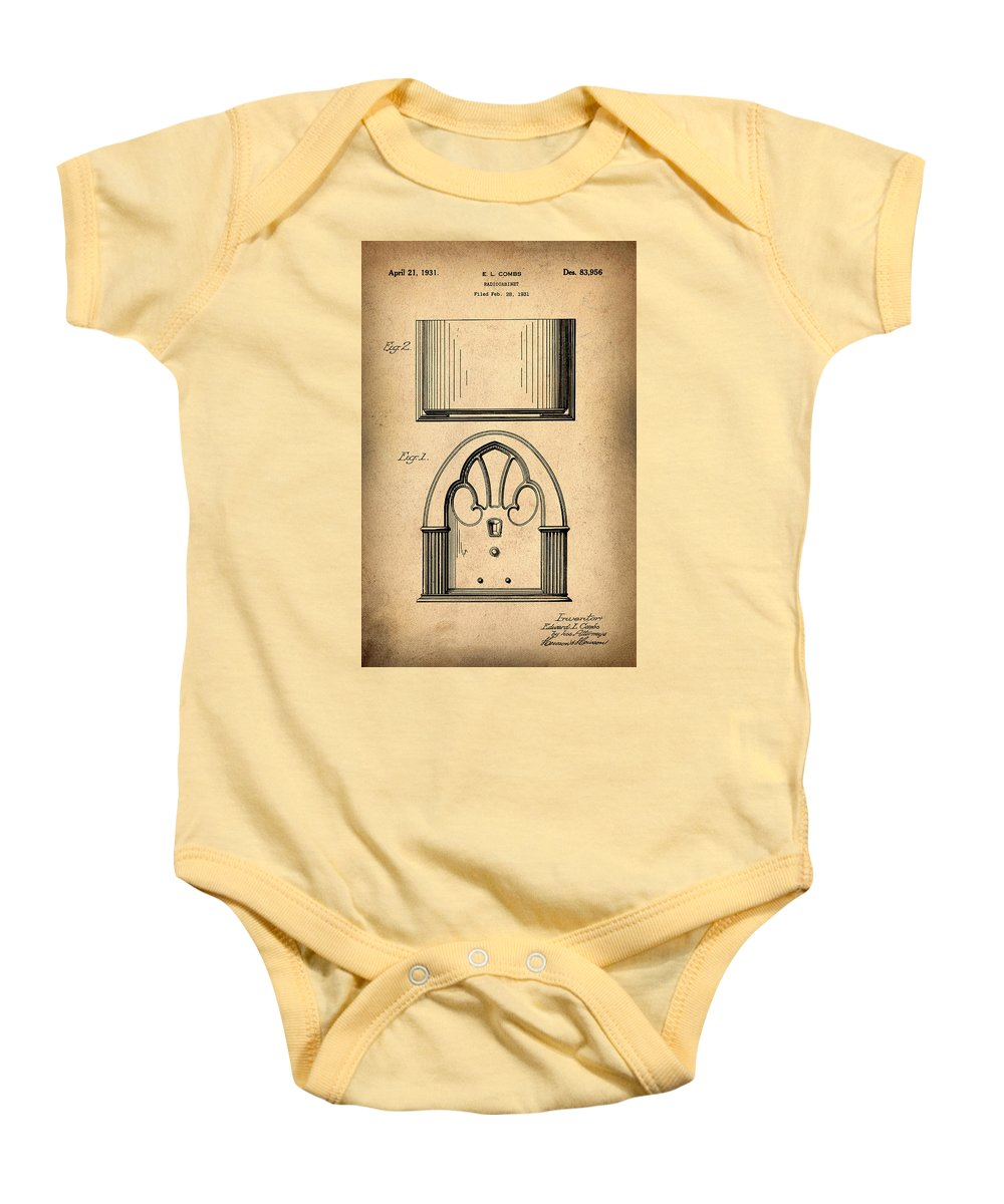 1931 Baby Onesie featuring the photograph 1931 Philco Radio Patent by Bill Cannon