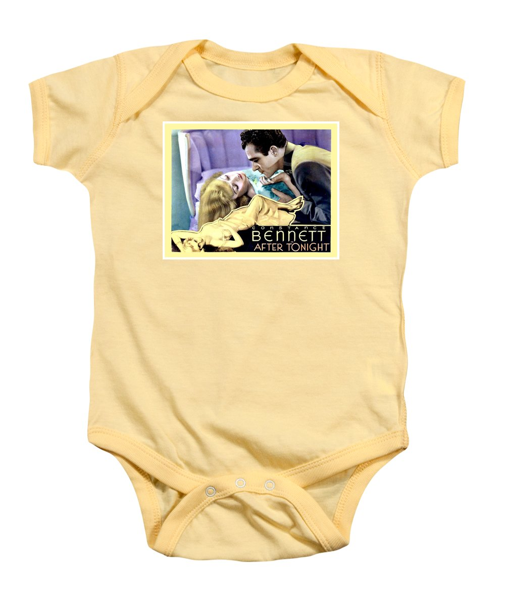 1933 Baby Onesie featuring the digital art 1933 - After Tonight Motion Picture Poster - Constance Bennet - Gilbert Roland - Color by John Madison