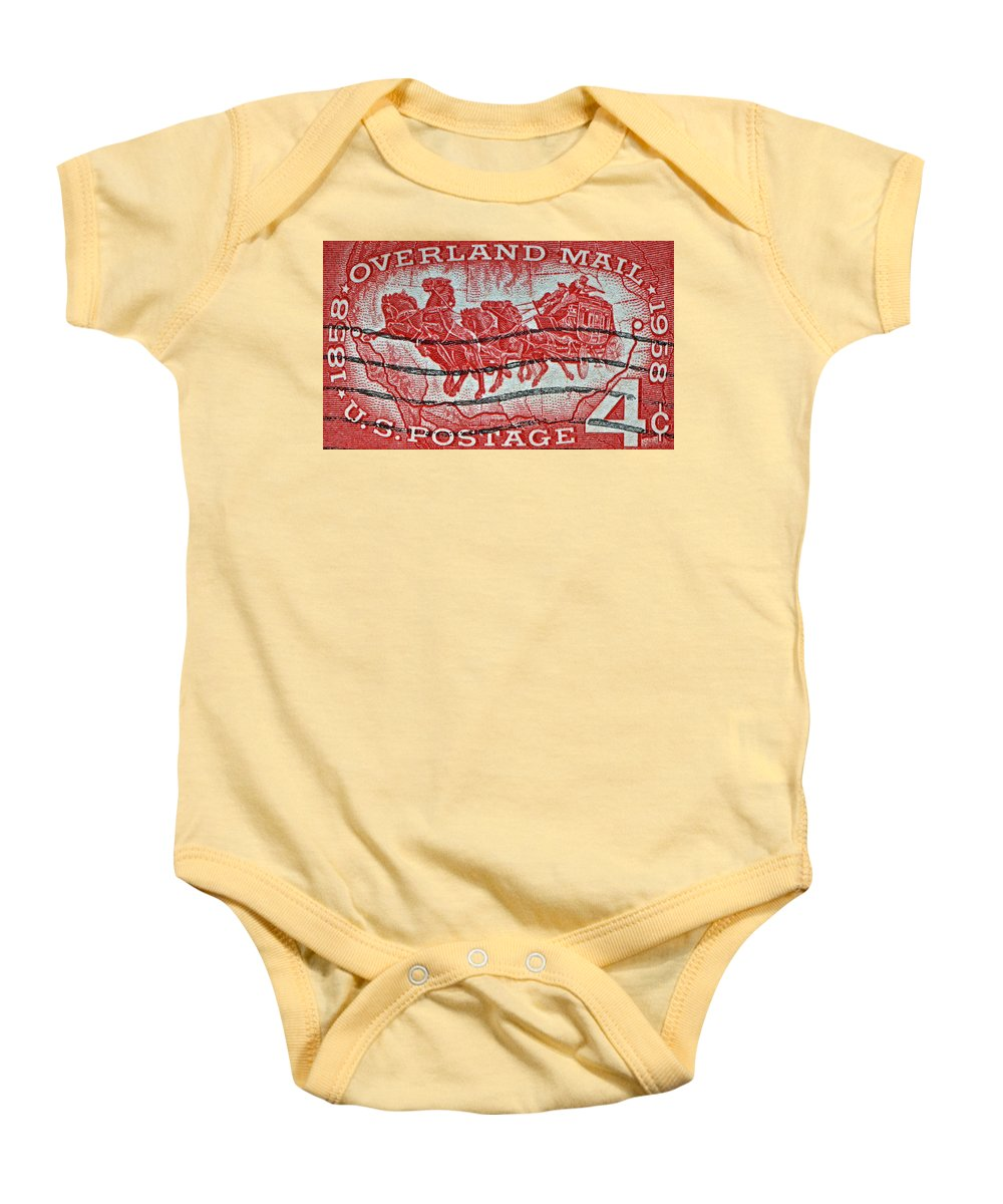 1958 Baby Onesie featuring the photograph 1958 Overland Mail Stamp by Bill Owen