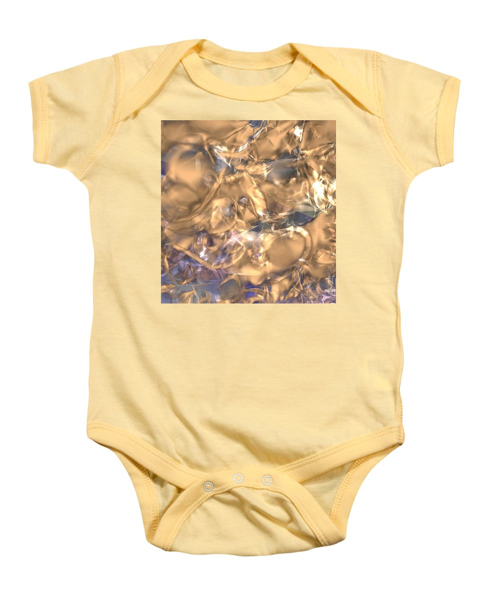 Gold Baby Onesie featuring the digital art Golden Synapse by Eric Nagel