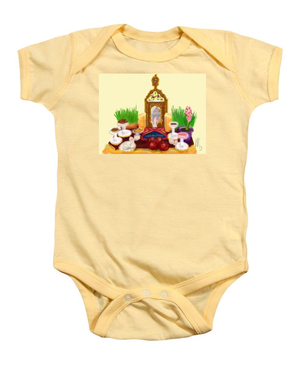 Happy Nowruz Baby Onesie featuring the painting Happy Nowruz by Lois Ivancin Tavaf