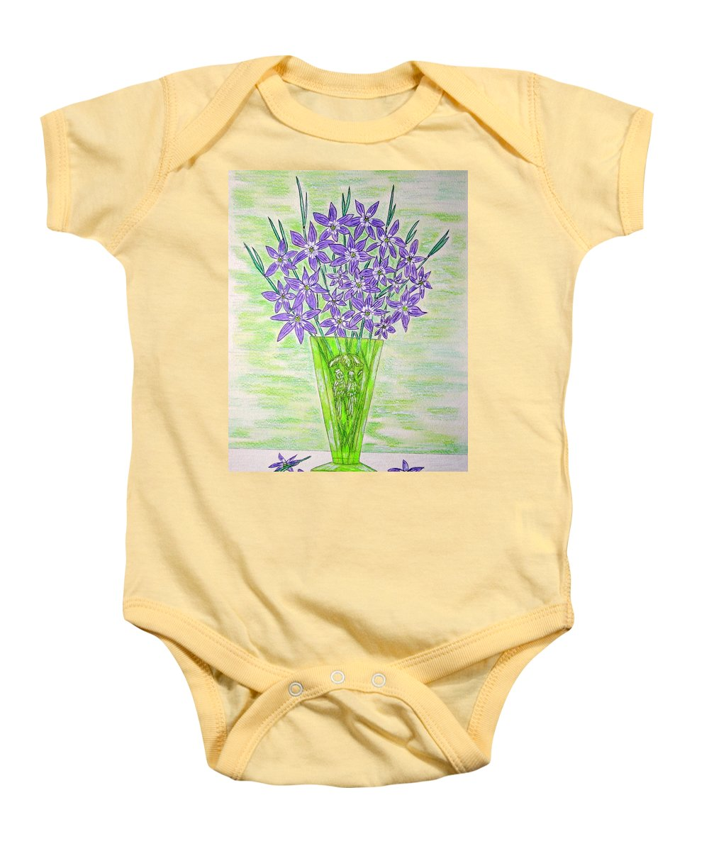 Parrot Baby Onesie featuring the painting Parrot Green Depression Glass by Kathy Marrs Chandler