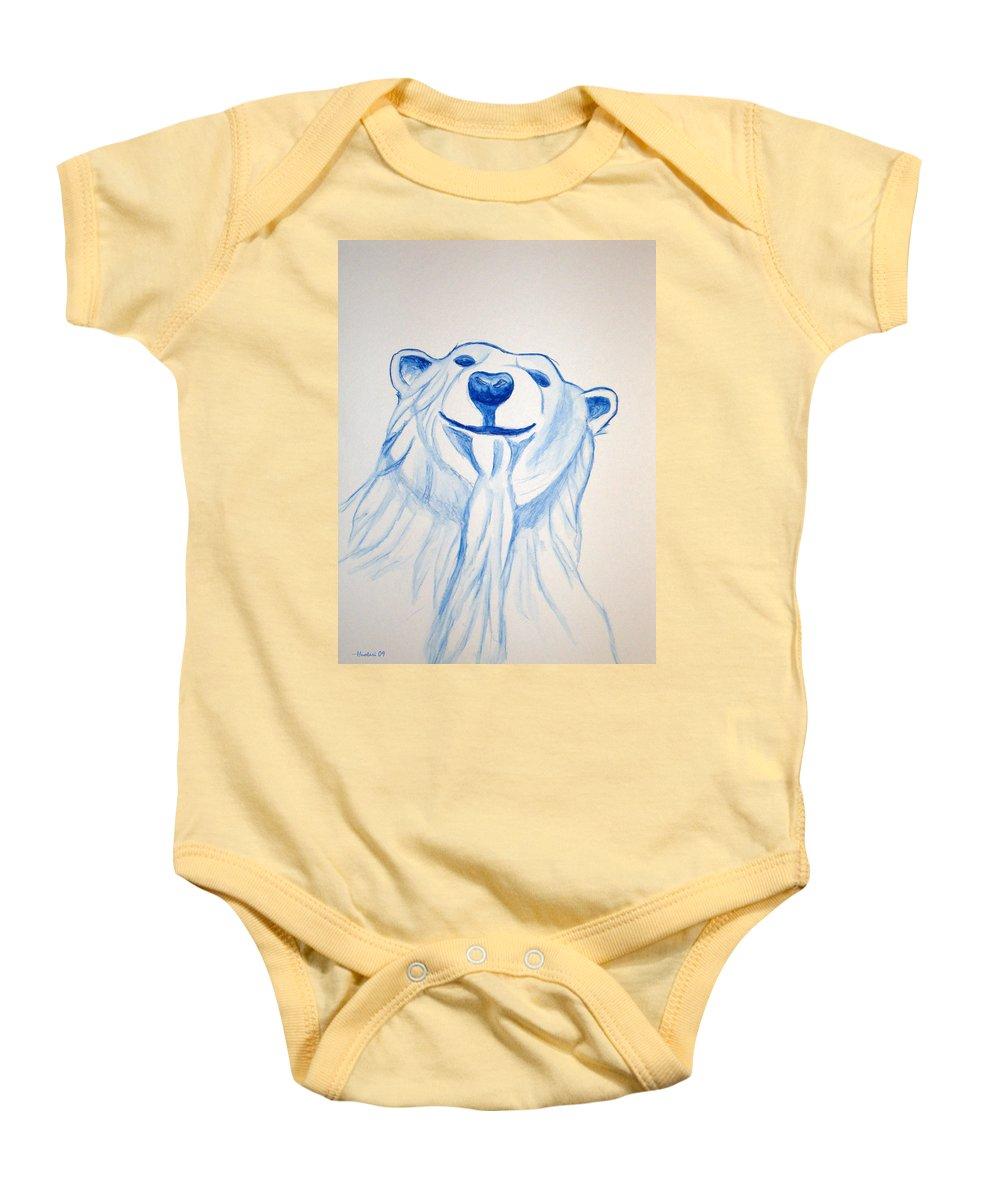 Rick Huotari Baby Onesie featuring the painting Polar Bear by Rick Huotari